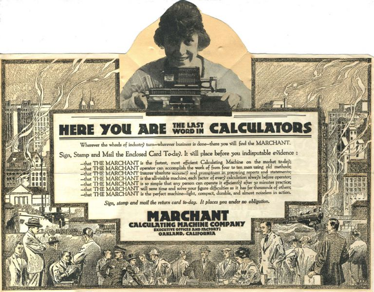 Pop up mailer: The Marchant - Here You Are The Last Word in Calculators. Made in America Used Throughout the World.