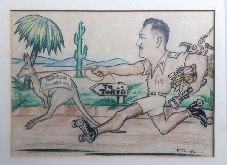WWII caricature: Lt. Gen. Guy Simonds, inventor of the Kangaroo Armored Personnel Carrier. Forrest Evans, artist.