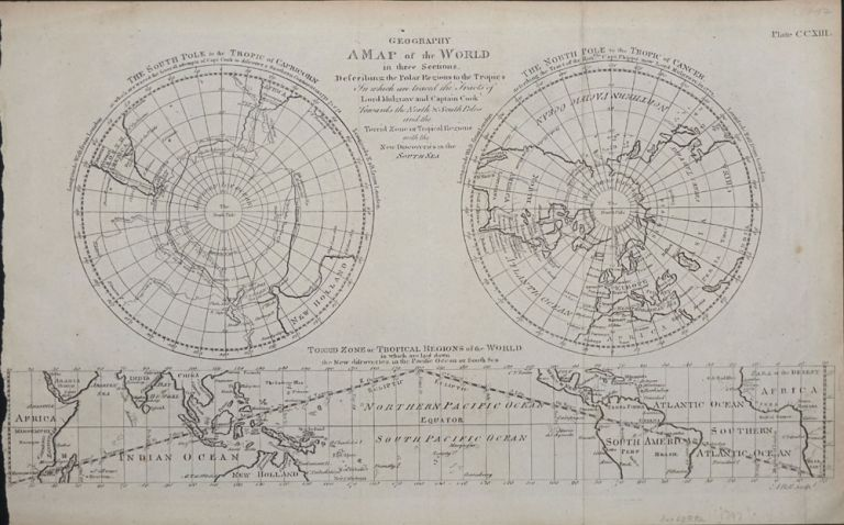 The World in three Sections...the Polar Regions to the Tropics with all the Tracks of Lord Mulgrave and Captain Cook Towards the North & South Poles and the Torrid Zone or Tropical Regions with the New Discoveries in the South Seas. John Fielding.