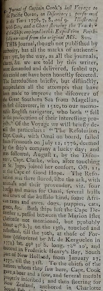 'Journal of Captain Cook's Last Voyage to the Pacific Ocean, on Discovery; performed in the Years 1776, 7, 8, and 9': The Gentleman's Magazine and Historical Chronicle 1781. Volume LI. For the Year MDCCLXXXI. James Cook, John Rickman.