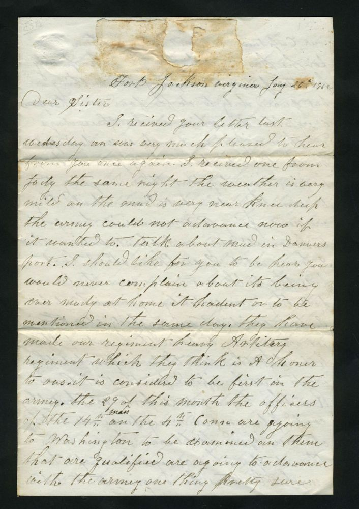 Civil War Letter, describing soldier's situation with the 14th Mass. Civil War, F. A. Woodman.