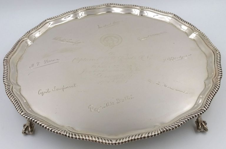 A sterling silver salver signed in facsimile by eight participants of the British National Antarctic Expedition, 1901-1904, a wedding gift to Charles Royds, the Discovery's first lieutenant. Antarctic, Discovery Voyage.