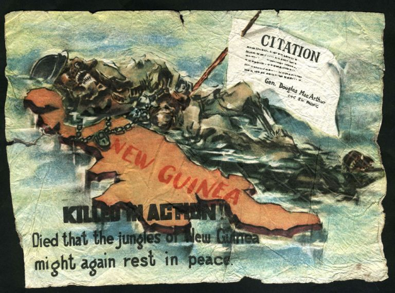 "World War II Japanese propaganda leaflet, ""Killed in Action. Died that the jungles of New Guinea might again rest in peace"""