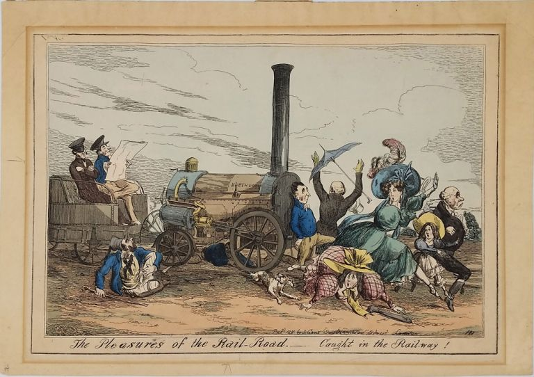 Caricature: The Pleasures of the Rail-Road. Caught in the Rail-way! Henry Heath.