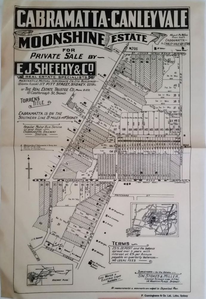 Cabramatta-Canley Vale Moonshine Estate for Private Sale by E.J. Sheehy & Co. with sold lots cross hatched out. Land subdivision poster.