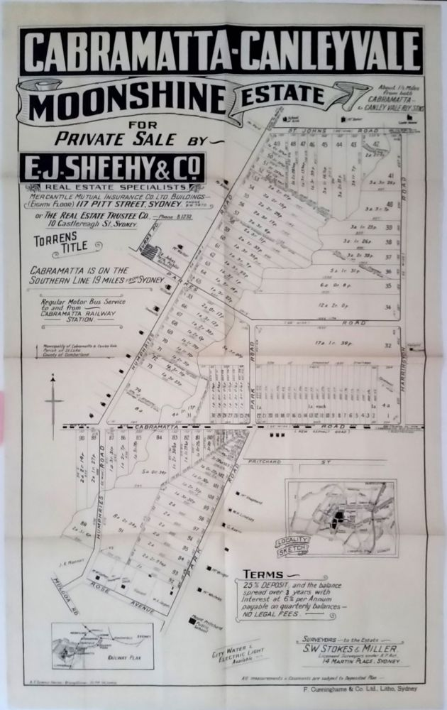 Cabramatta-Canley Vale Moonshine Estate for Private Sale by E.J. Sheehy & Co. Land subdivision poster.