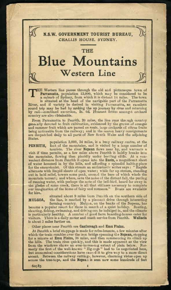 Tourist's Sketch Map, Penrith to Eskbank, Blue Mountains, New South Wales, Australia. with The Blue Mountains Western Line text printed on the verso. New South Wales Government Tourist Bureau.