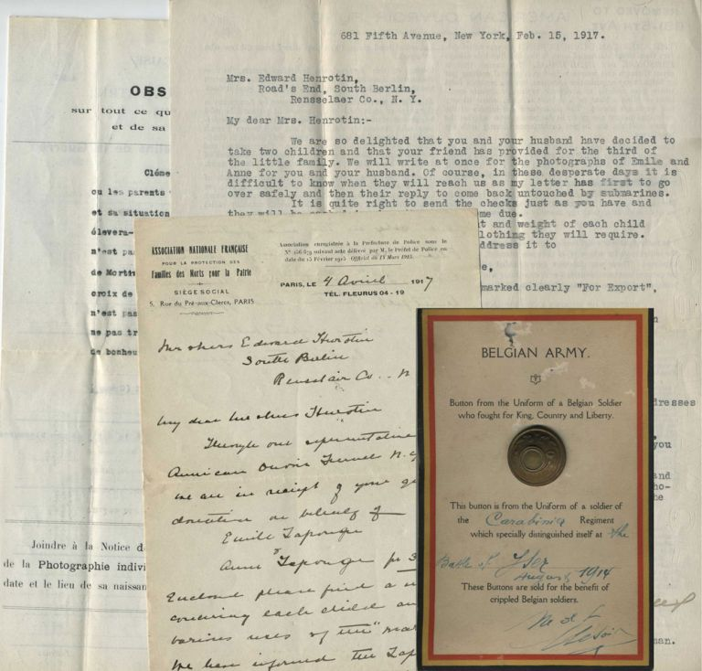 W.W.I in Belgium, support for two Belgian orphans and subsequent adoption process by the Henrotin family of South Berlin, NY. Edward. Clement Henrotin, Emile, Anna Lapouge.