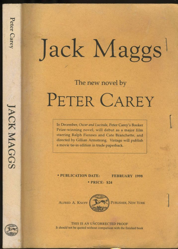 Jack Maggs. Uncorrected Proof. Peter Carey.