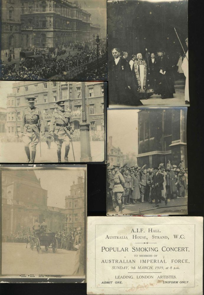 "A group of five real photographs of a parade in London celebrating the end of W.W.I and an invitation to ""Popular Smoking concert, to members of Australian Imperial Force, Sunday 9th March, 1919..."" W W. I., Australian Imperial Force."