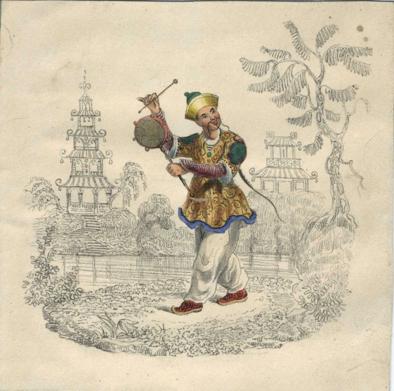 Playful color lithograph of Chinese man with drum.