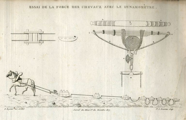 8 Engravings: Crystals, mining machinery & geological formations. French Journal des Mines.