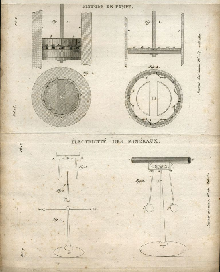 3 Engravings: Crystals and mining machinery. French Journal des Mines.