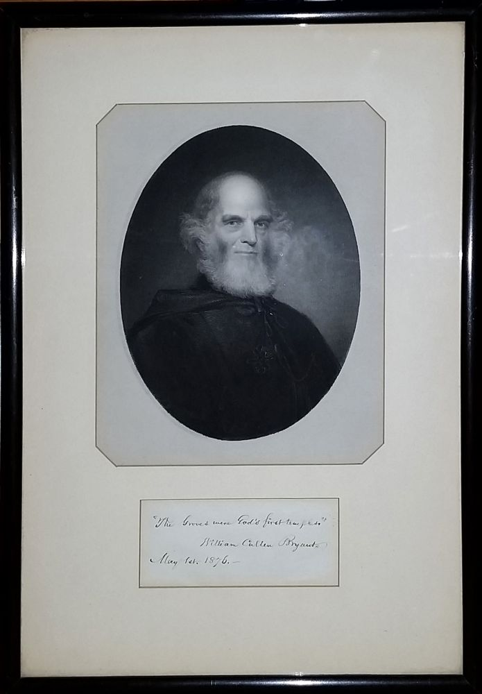 Signed Portrait, William Cullen Bryant with line of verse from 'A Forest Hymn'. William Cullen Bryant.