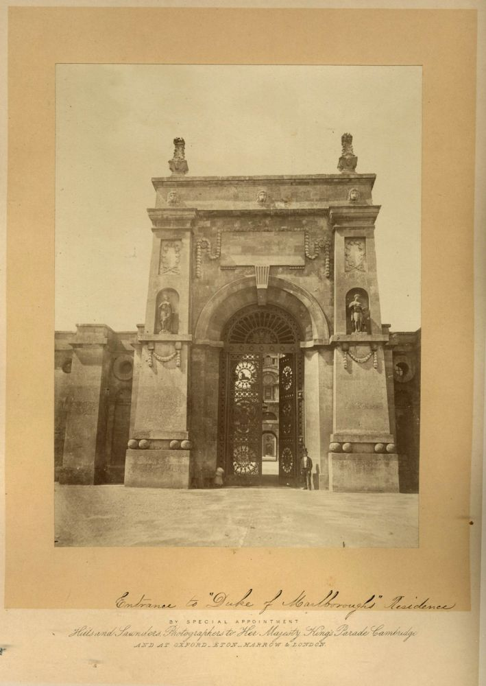Large mounted albumen photograph of the Eastern Gateway of Blenheim Palace. Photography, Hills and Saunders.