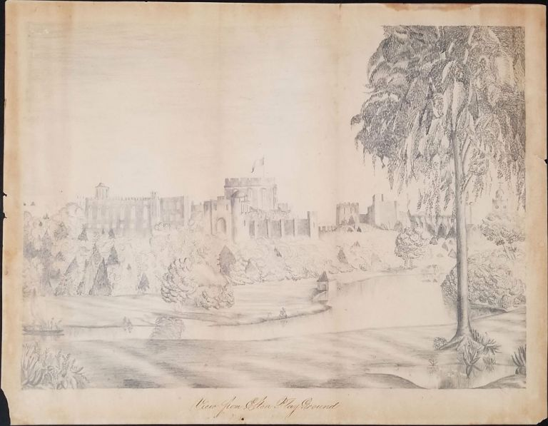 """Pencil drawing of Windsor Castle, """"View from Eton Playground"""" Windsor Castle, Original Art."""