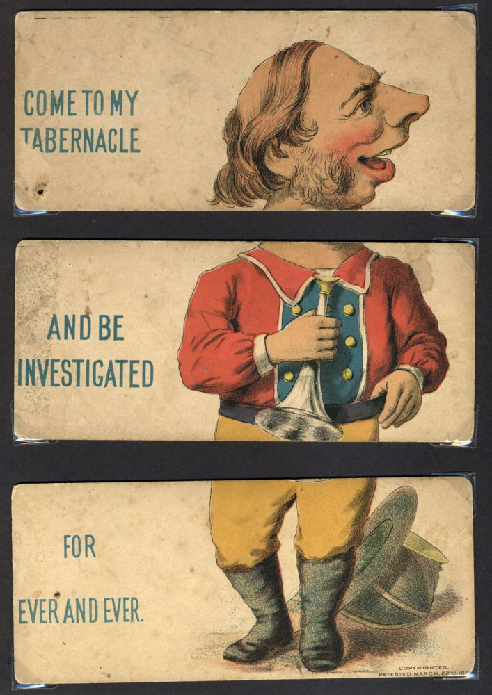 """""""Come to My Tabernacle and be Investigated For Ever and Ever"""". Caricature. Thomas De Witt Talmage."""
