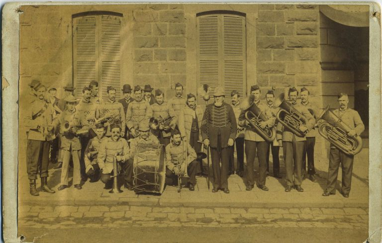 Hamilton Marching Band, a photograph by Clark Bros. of Victoria. Victoria, Photography, Clark Bros.