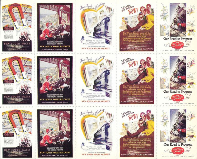Full sheet of 15 poster stamps promoting the New South Wales Railways. New South Wales.
