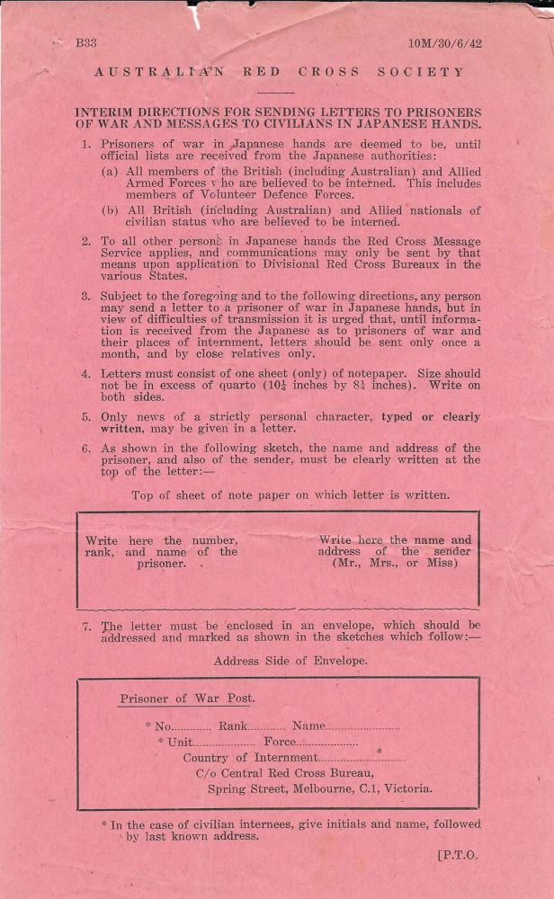 Australian Red Cross Society circular entitled: Interim Directions for Sending Letters to Prisoners of War and Messages to Civilians in Japanese Hands. Red Cross Australia, Japan, WWII.