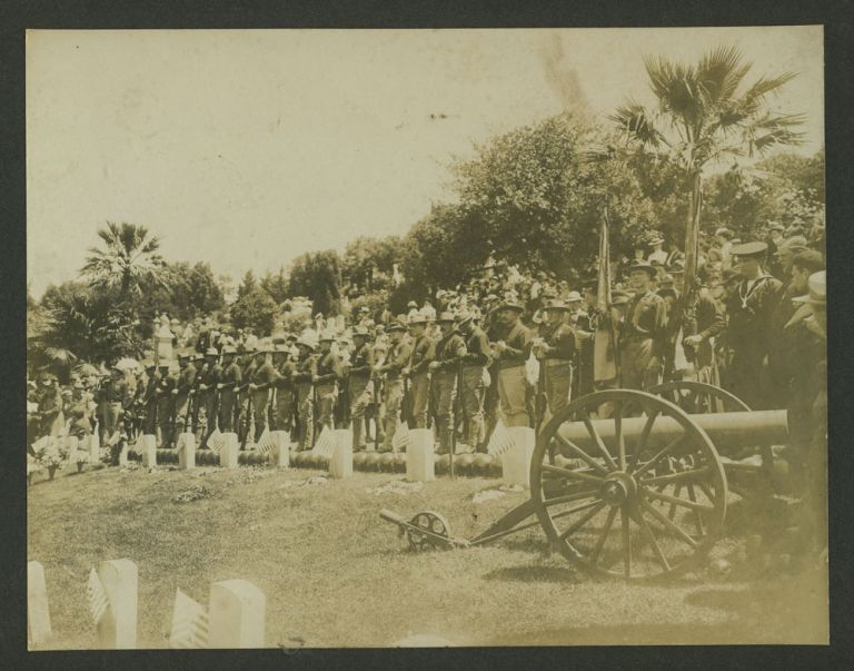 Philippine American War: 21 Gun Salute at cemetery. Photograph. Philippines, Photography.