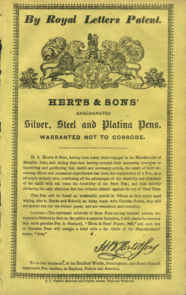Herts & Sons' Amalgamated Silver, Steel and Platina Pens. Handbill.
