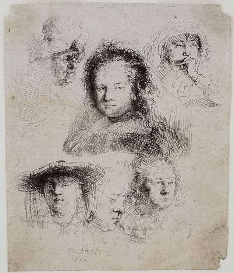 [Studies of the Heads of Saskia and Others] signed on the verso by the Parisian print seller Naudet, dated 1801. Leiden Dutch, Amsterdam, Rembrandt van Rijn.