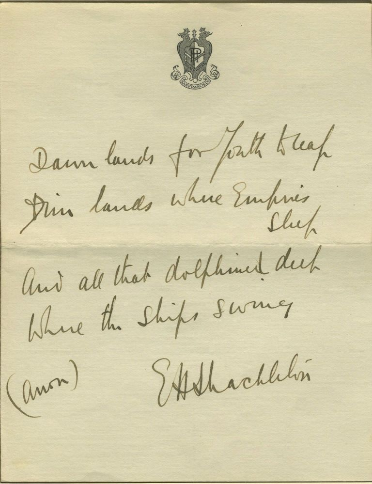 Autograph of Ernest Shackleton, with a poem in his hand. Antarctic, Autograph.