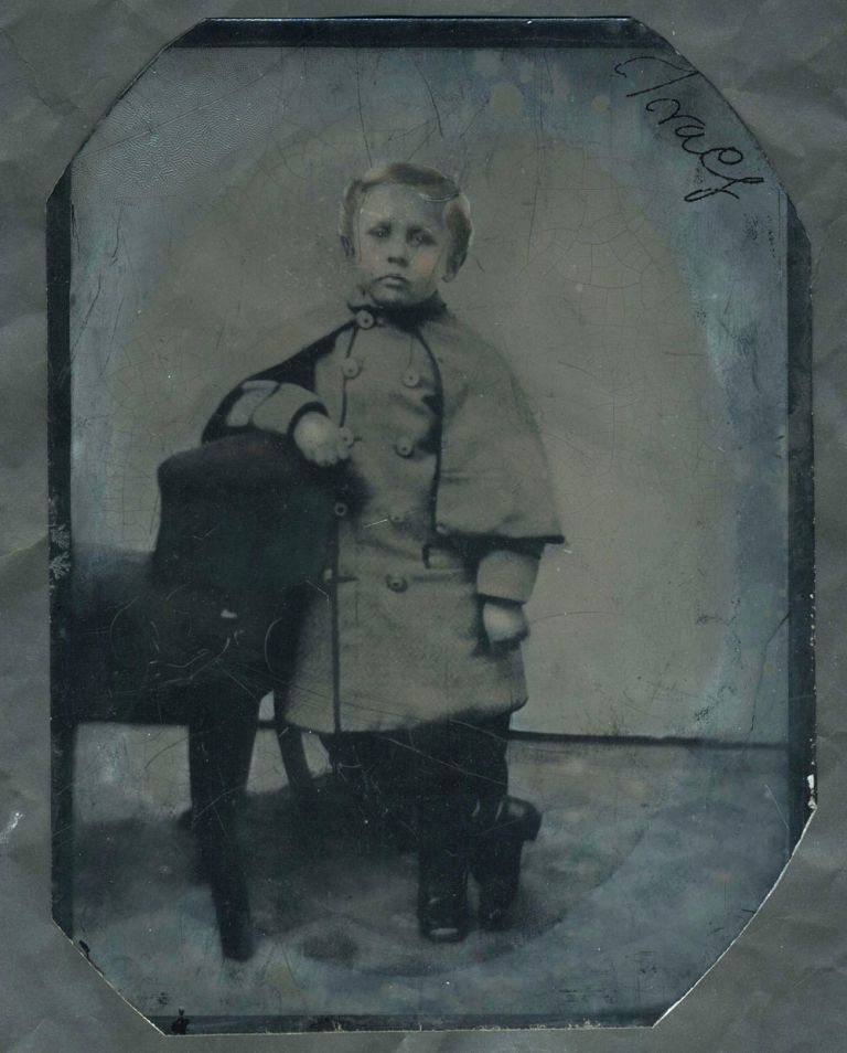 Civil War Tintype: Young boy in Confederate Greatcoat. Photography.