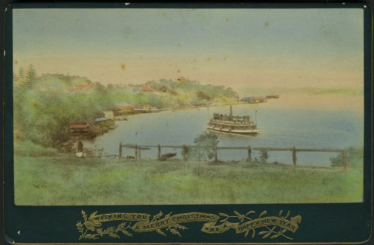 Neutral Bay, Sydney. 'Wishing You a Merry Christmas and a Happy New Year'. Real Photo Advertising Cabinet Card. Photography, Australia.