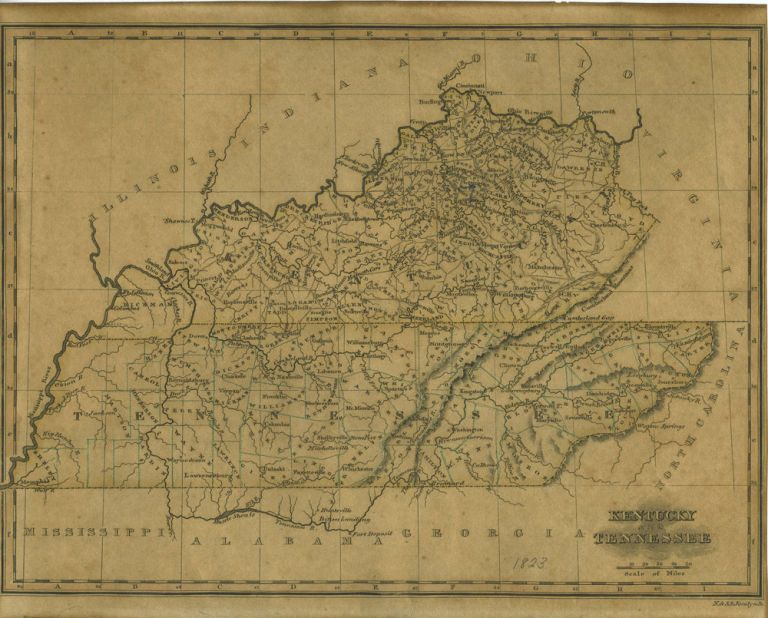 A Map of Kentucky and Tennessee from An Atlas of the United States ...