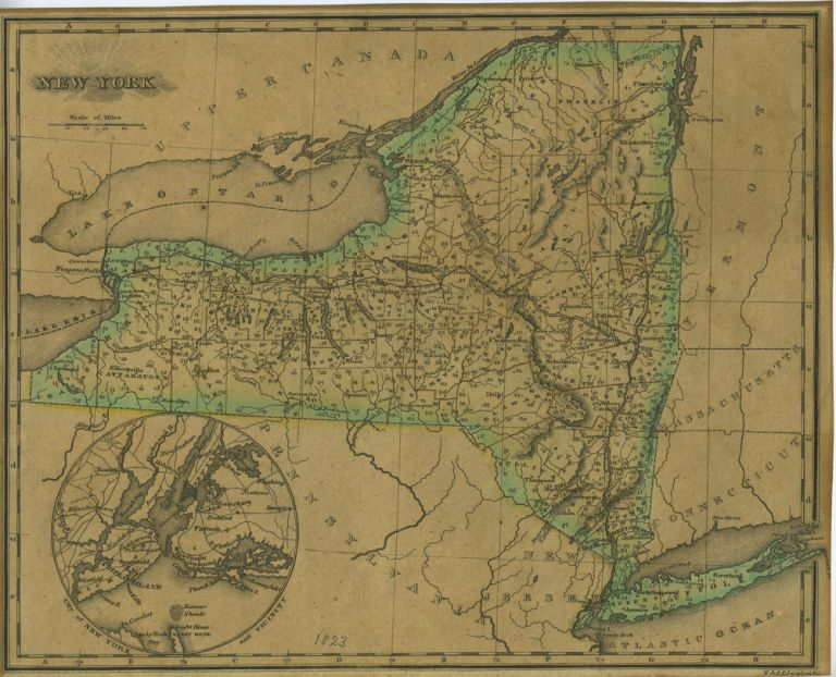 """A Map of New York from """"An Atlas of the United States, on an Improved Plan;..."""" with a complete index. Sidney E. Morse."""