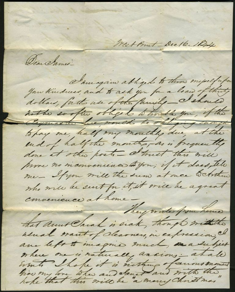 1844 Letter Written from West Point asking for a Loan because the Paymaster was Behind in Remittance. West Point, Cadet J. A. Hardie, Jas. Thomson.