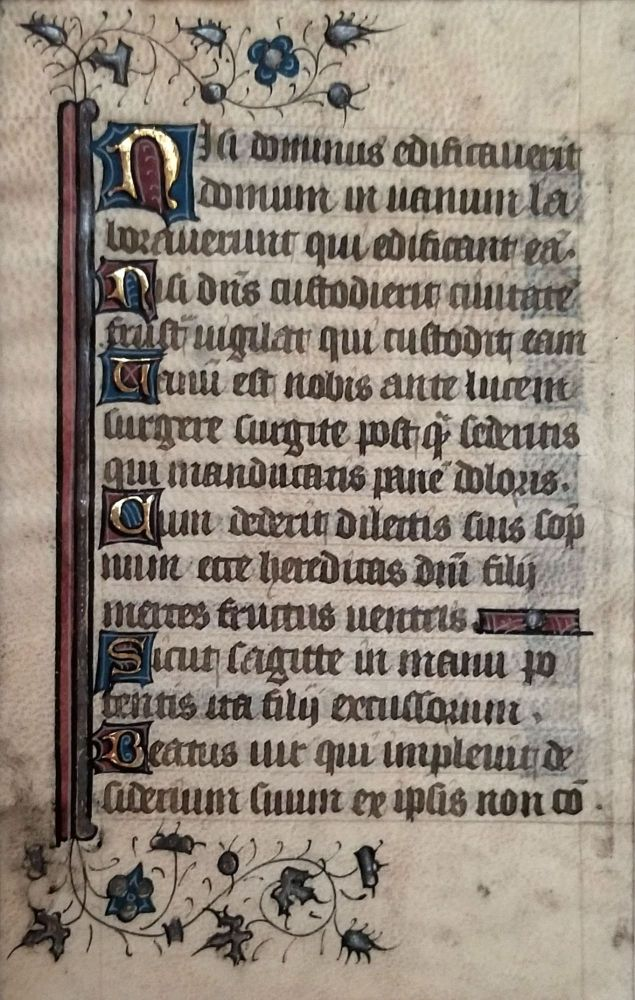 Illuminated vellum leaf from a French Psalter.
