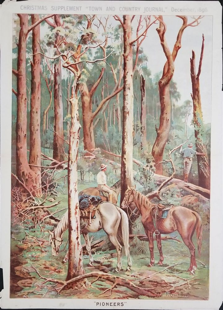 """Pioneers"". A supplement to the Christmas issue of Town and Country Journal, Chromolithographic Illustration. New South Wales, F. Cecil Boult."