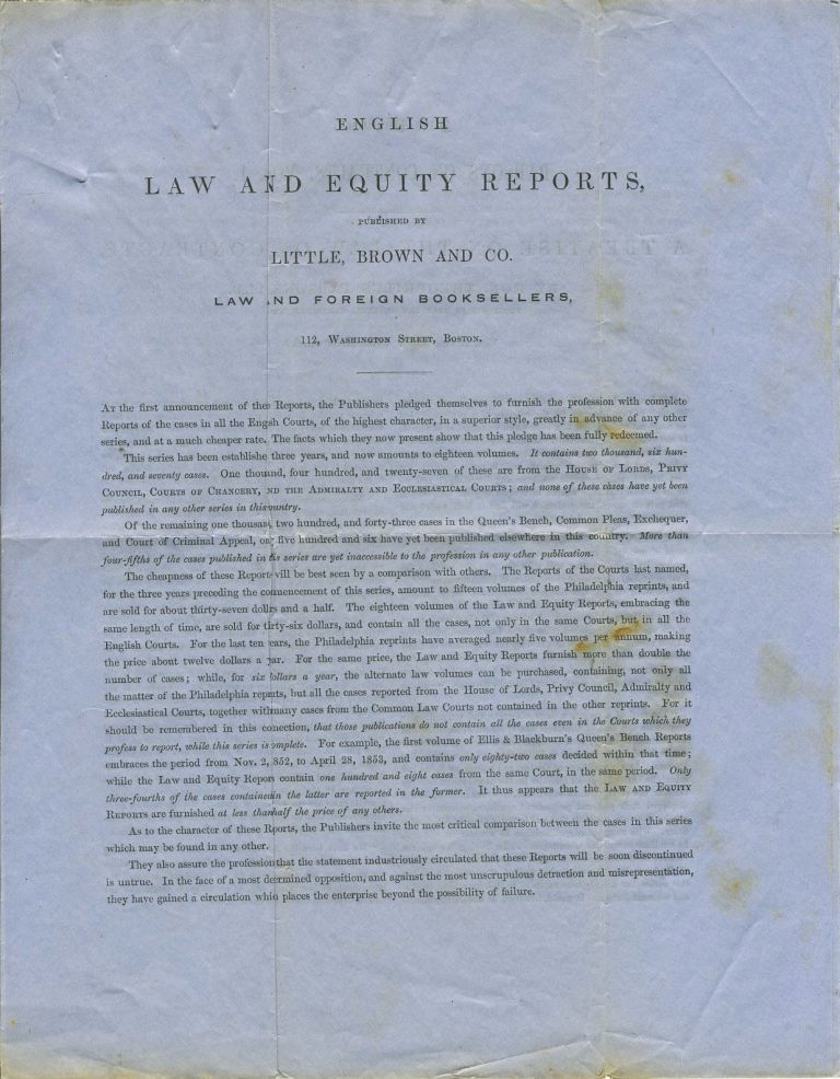 English Law and Equity Reports, published by Little, Brown and Co. Advertising letter sheet. Brown and Co Little.