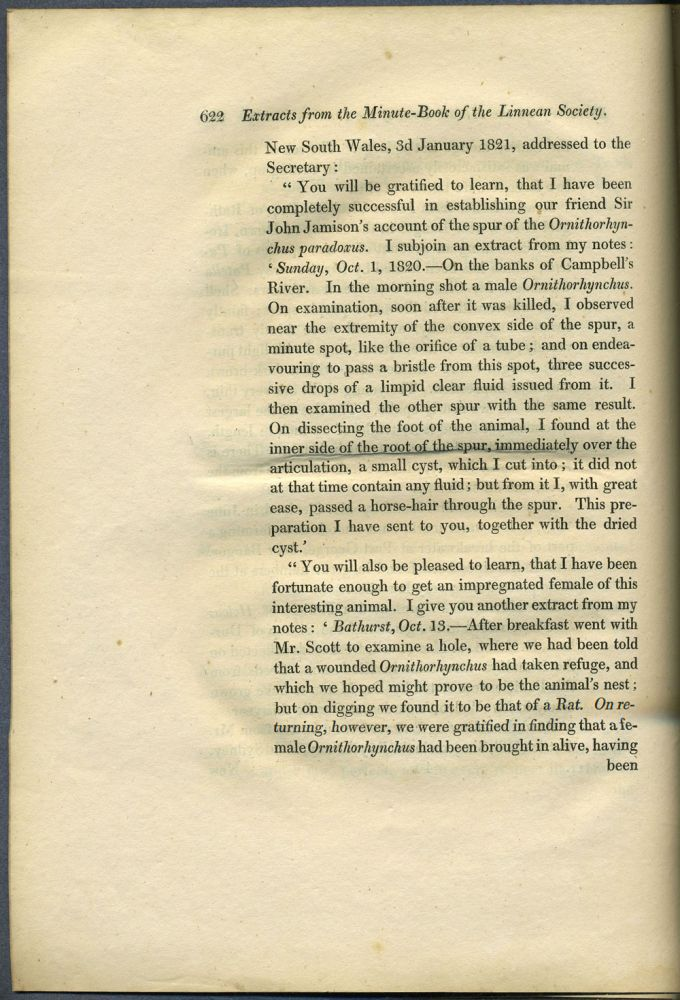 Letter on Platypus in Extracts from the Minute Book of the ...