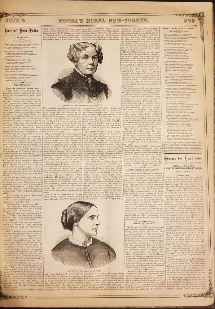 Moore's Rural New-Yorker, A National Illustrated Rural, Literacy and Family Newspaper, Dedicated to the Home Interests of Both Country and Town Residents... 1869. Volume XX.