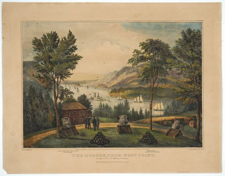 The Hudson from West Point. Grounds of the U.S. Military Academy. Currier, F. F. Ives. Palmer.