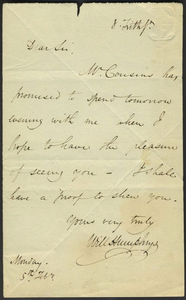 Autograph letter from Humphrys to an unknown person, mentioning (Samuel) Cousins, prominent engraver. William Humphrys.