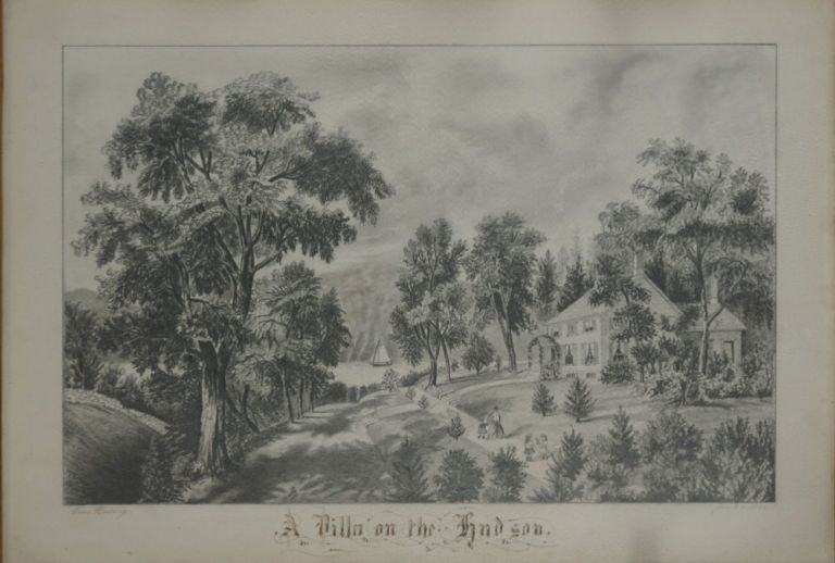 A Villa on the Hudson, a young woman's superb pencil drawing of the image after Currier & Ives. Anna Harmony, artist.