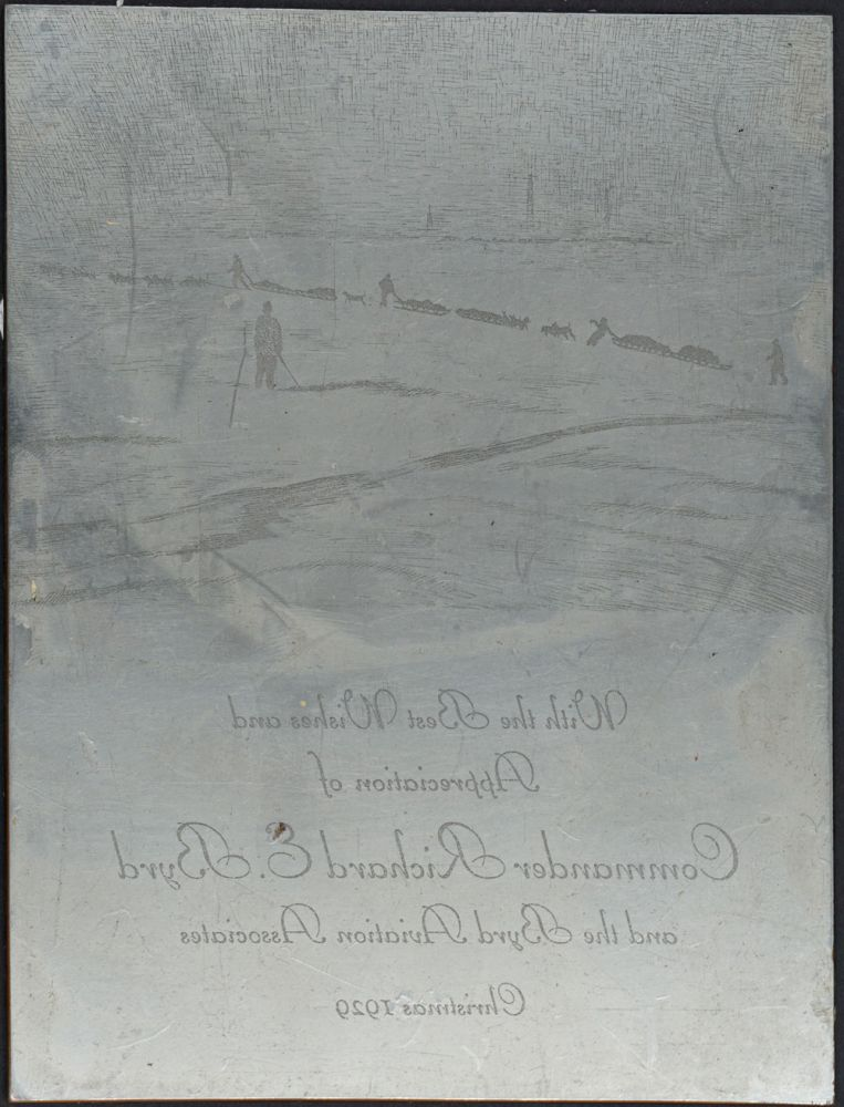 Printing plate from the Christmas card sent in 1929 from the Byrd Aviation Association. Antarctic, Richard E. Byrd.