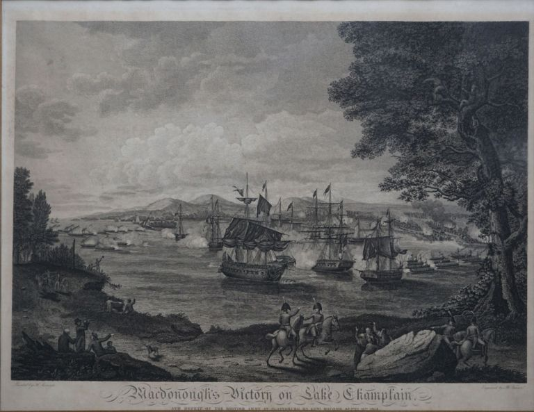 Macdonough's Victory on Lake Champlain and Defeat of the British Army at Plattsburg by Genl. Macomb Septr. 11th 1814. No. 74 South Eighth Street Philadelphia, 4th July 1816. Military, War of 1812, engr.