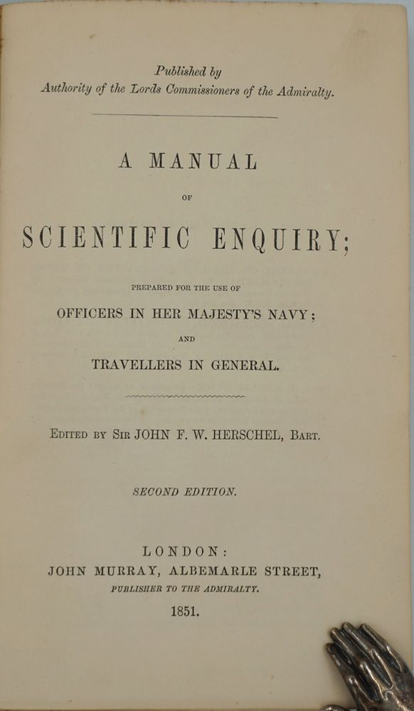 'Geology' by Charles Darwin, in 'A Manual of Scientific Enquiry; Prepared for Use of Officers in Her Majesty's Navy; and Travellers in General'. Charles Darwin, Sir John ed Herschel.