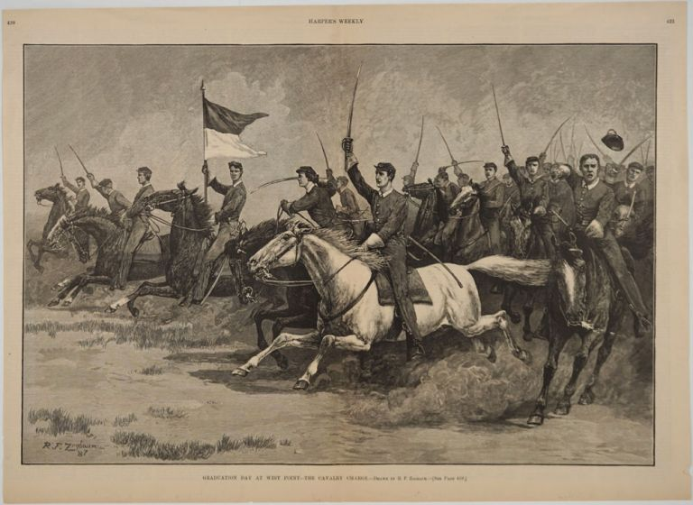 Graduation Day at West Point - The Cavalry Charge. West Point, Print.