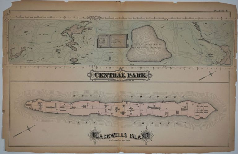 """""""Central Park. Blackwells Island"""". Maps printed on 1 sheet. George W. Bromley, Walter S."""