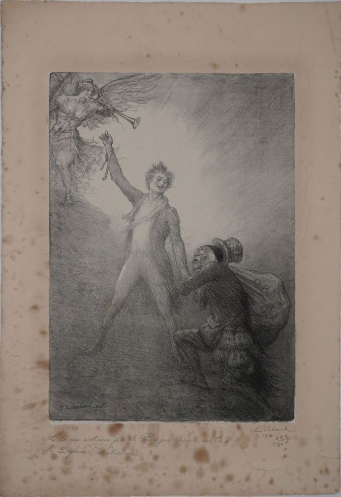 """L'Avare Entraine par le Prodigue Apporte son Or a la Defense Nationale"". Lithograph. Charles Leandre."