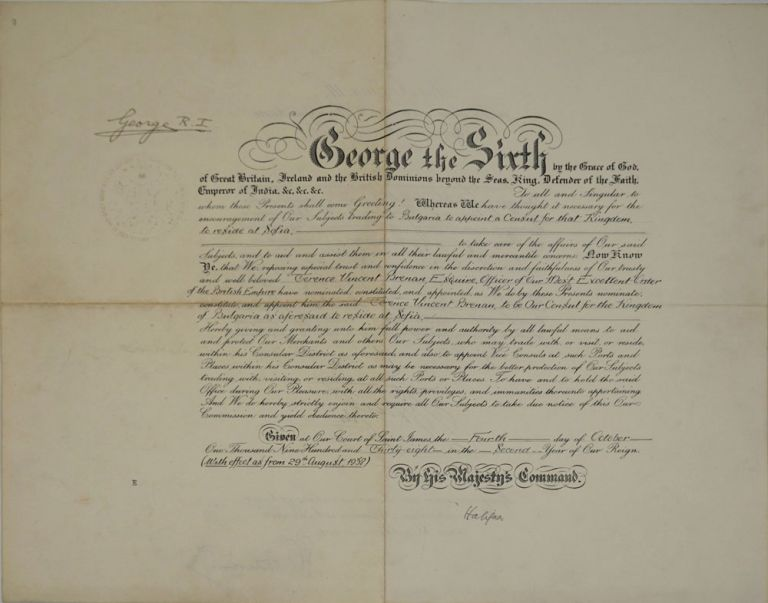 Signed appointment of Consul to Bulgaria. Vellum document. King George VI, US Diplomatic Corp.