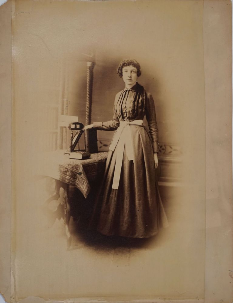 Woman with Stereoscopic Viewer. Large albumen photograph. Photography, Women.