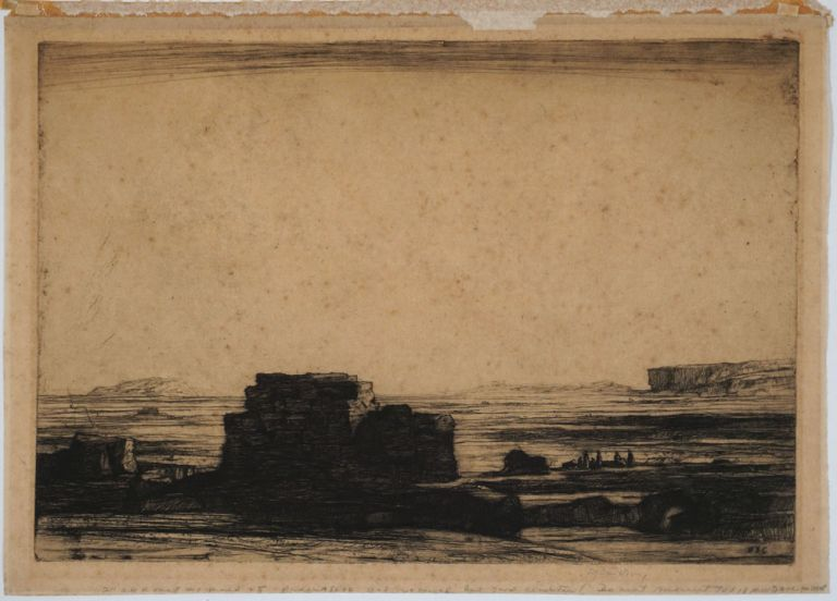 Signed Landscape etching. David Young Cameron.